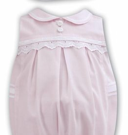 Sarah Louise Pink and White Romper and Hat Set