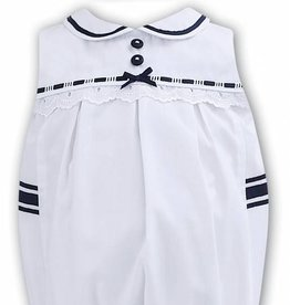 Sarah Louise Sarah Louise Navy and White Romper and Hat Set