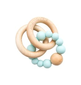LouLou Lollipop Trnity Wood and Silicon Teether - Robins Egg Blue