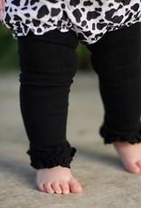 RuffleButts Black Footless Ruffle Tights