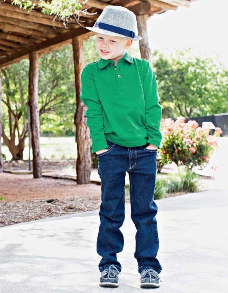 RuffleButts Emerald Long Sleeve Polo