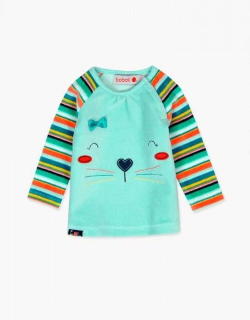 Boboli Plush pinafore kitten dress