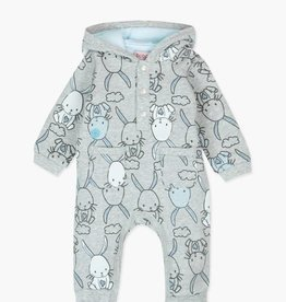 Boboli Fleece Bunny Playsuit- Blue