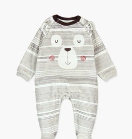 Boboli Striped Brown Bear Play suit-velour