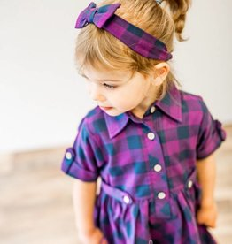 RuffleButts Plum & Navy Buffalo Plaid Headband