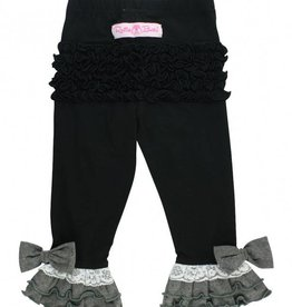 RuffleButts Black Contrast Ruffle Pants - 4T