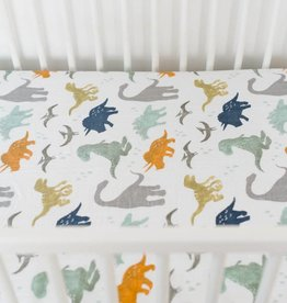 Little Unicorn Cotton Percale Crib Sheet- Dino Friends
