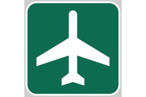 Metal Reflective Sign, Airport Ahead