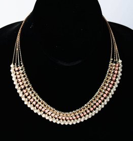 Bejeweled Bib Statement Necklace Rose Gold
