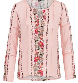 Floral Blouse w/ Cutout Ribbon