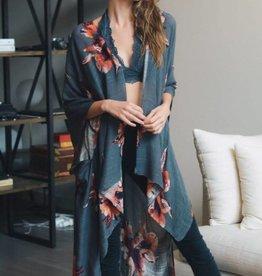 Floral Print Kimono Wrap w/ Armholes