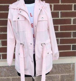 Ribbon Hooded Jacket w/ Belt