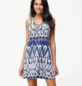 Tommy Bahama Pineapple Ikat Lace-Up Tunic Dress