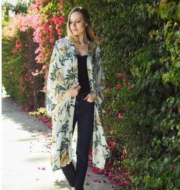Long Anemone Floral Print Kimono