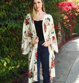 Long Peony Floral Print Kimono