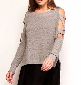 BB Dakota Aneesa Lace up Sleeve Sweater Heather Grey