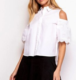 BB Dakota Elora Cold Shoulder Button Down Optic White