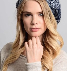 Beanie Basket Weave with Bow Navy