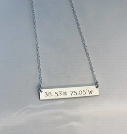 Lotus Jewelry Studio Bethany Beach Silver Latitude/Longitude Necklace