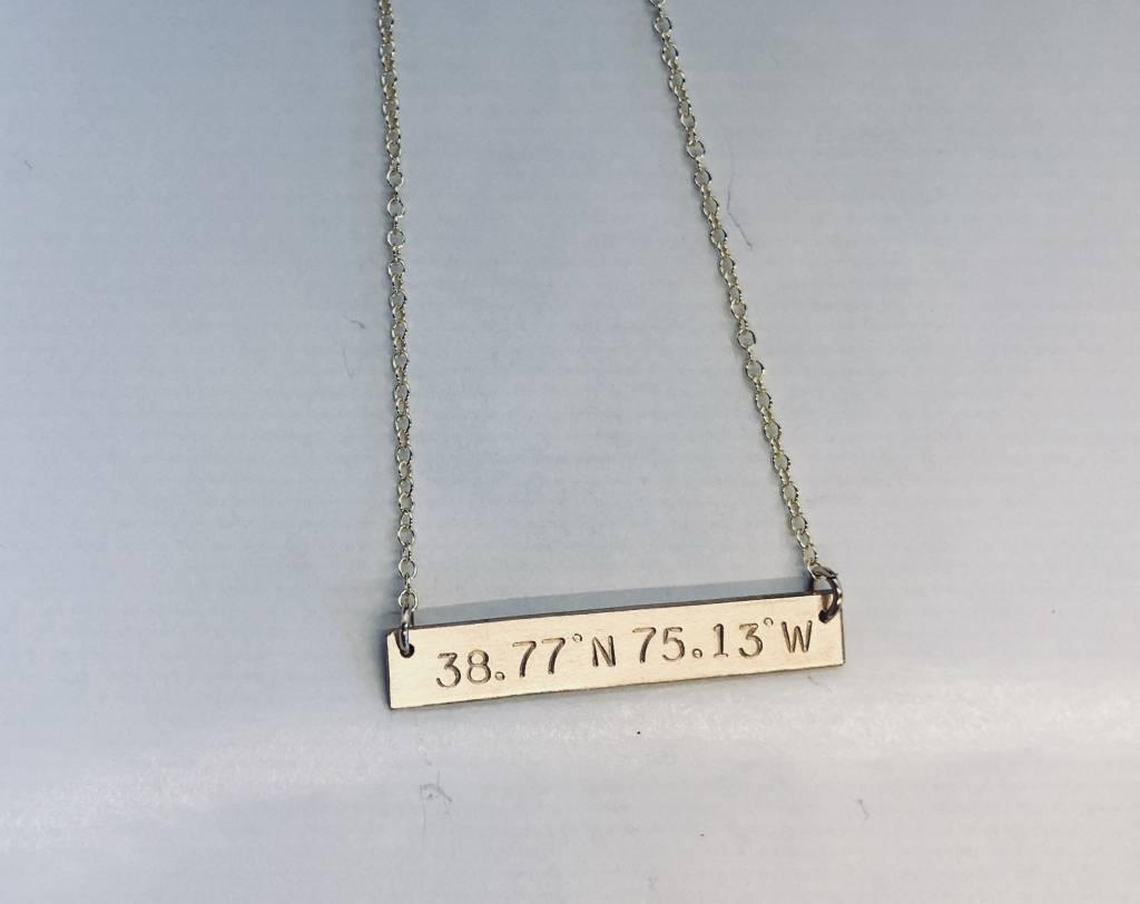 Lotus Jewelry Studio Lewes, DE Latitude/Longitude Necklace Gold