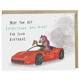 Emily McDowell Emily McDowell Card Birthday Card Pony Ferrari Pizza