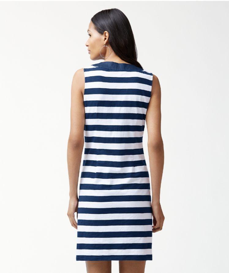 Tommy Bahama Stripe Right Tie Front Dress - Ocean Deep