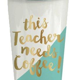 Slant Collections Flip Lid Tumbler 16oz - Teacher Needs Coffee
