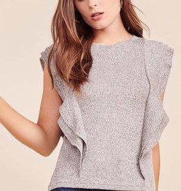 BB Dakota Milky Way Marled Knit Ruffle Tee in Heather Grey