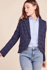 BB Dakota Hold Your Horses Plaid Blazer in Admiral Blue