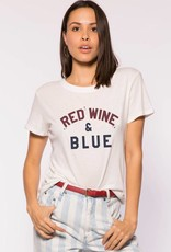 Sub_Urban Riot Red Wine & Blue Loose Tee in White