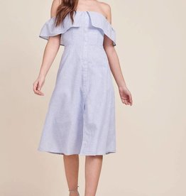 BB Dakota Jeanne Off the Shoulder Dress in Light Blue