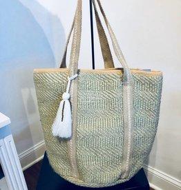 America & Beyond Straw Bucket Bag w/ Pompom Tassel