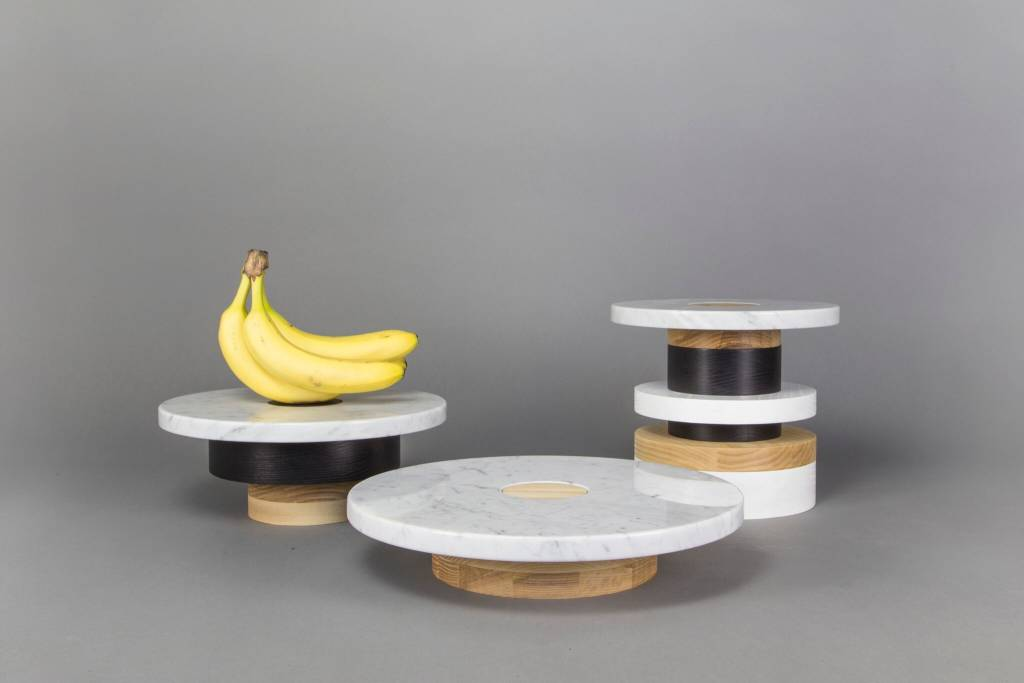 Souda Wood and Marble Pedestal-Low