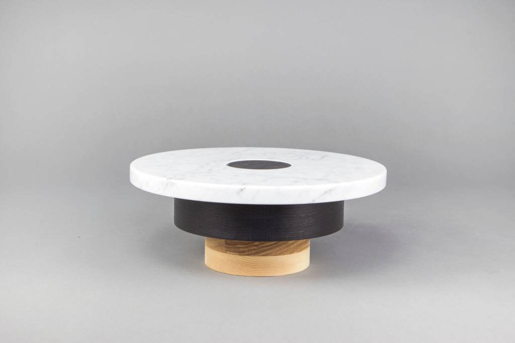 Souda Wood and Marble Pedestal: Mid