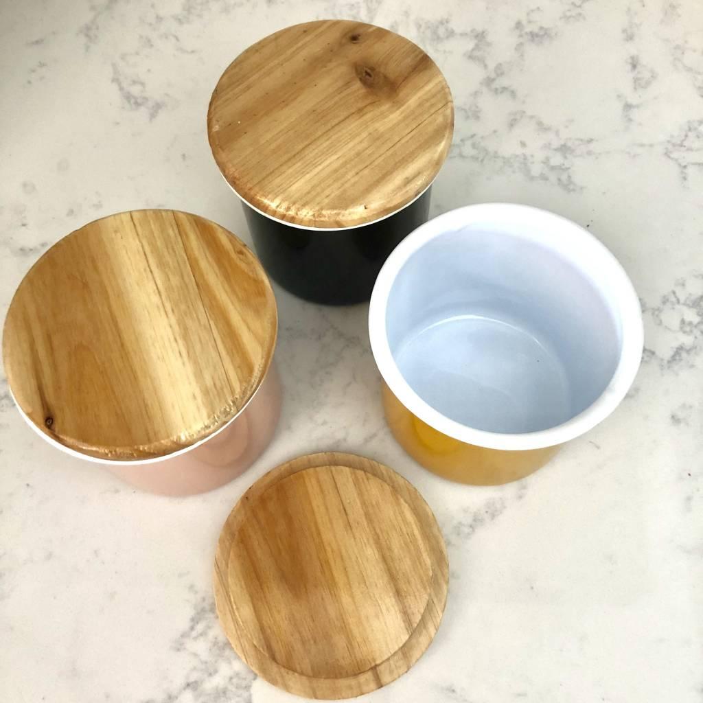 Enamel Utility Jar with Wood Lid