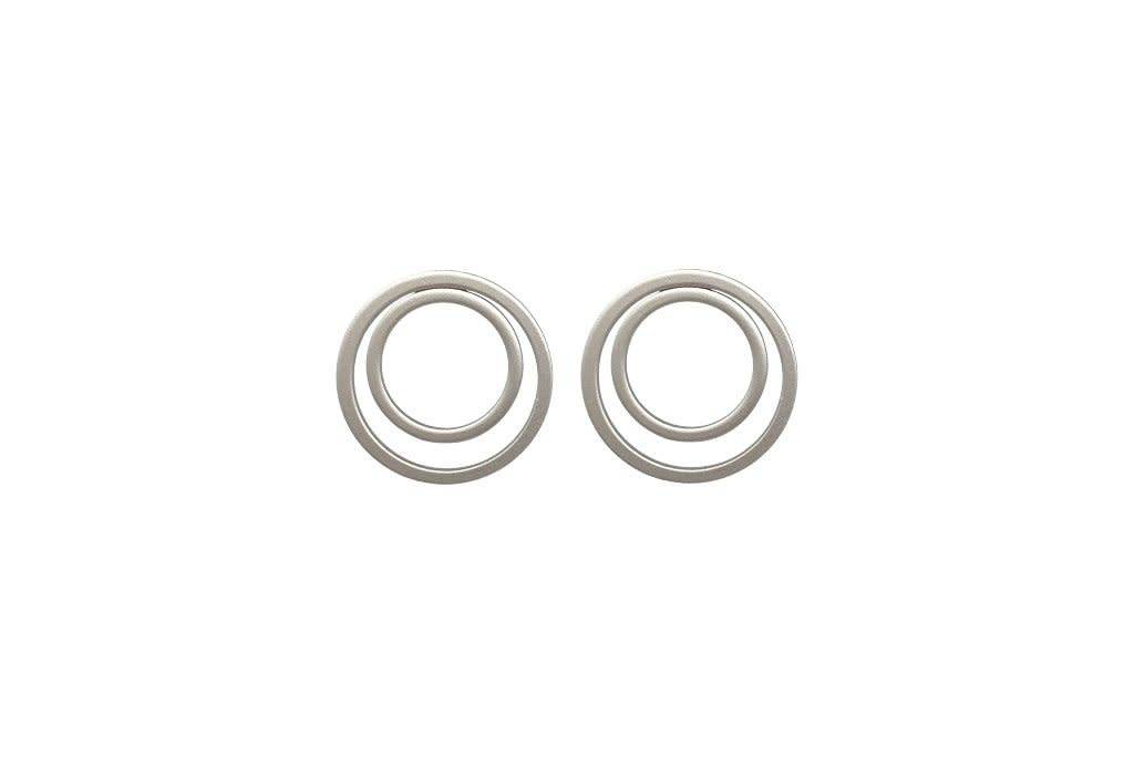 Stacked Circle Earrings Silver