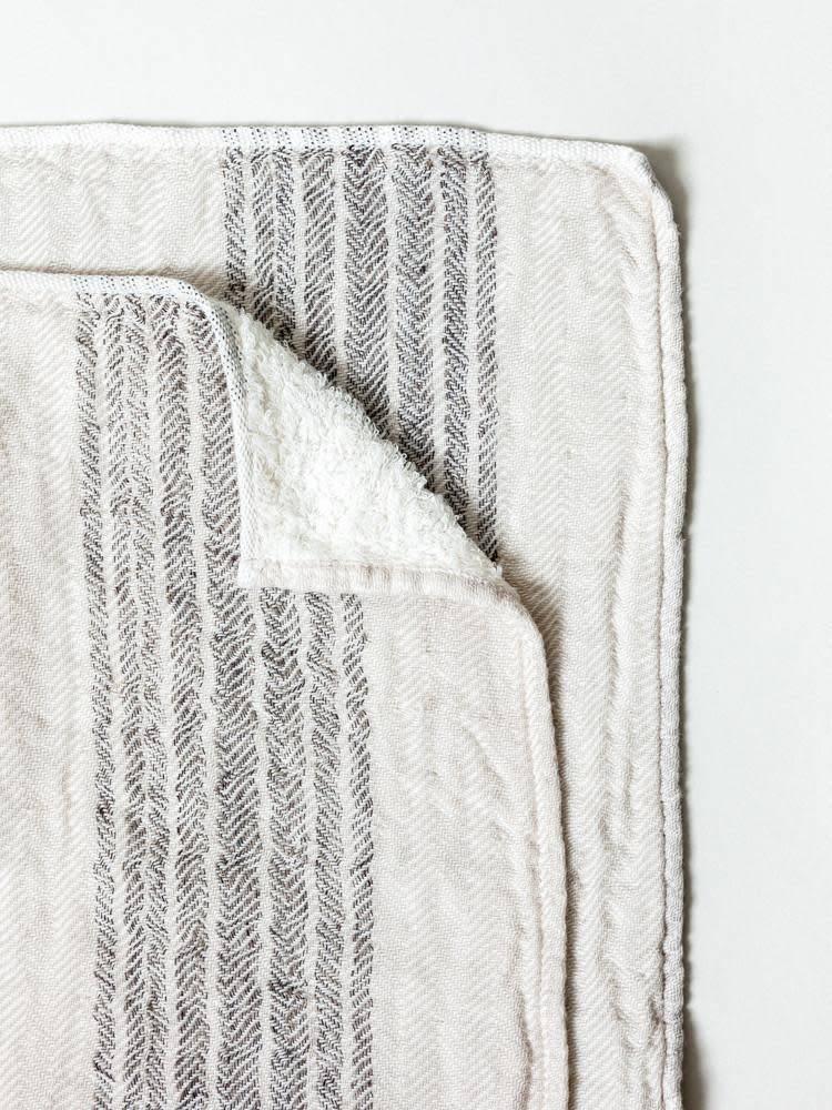 Morihata Dual Faced Striped Bath Towel in Brown/Beige