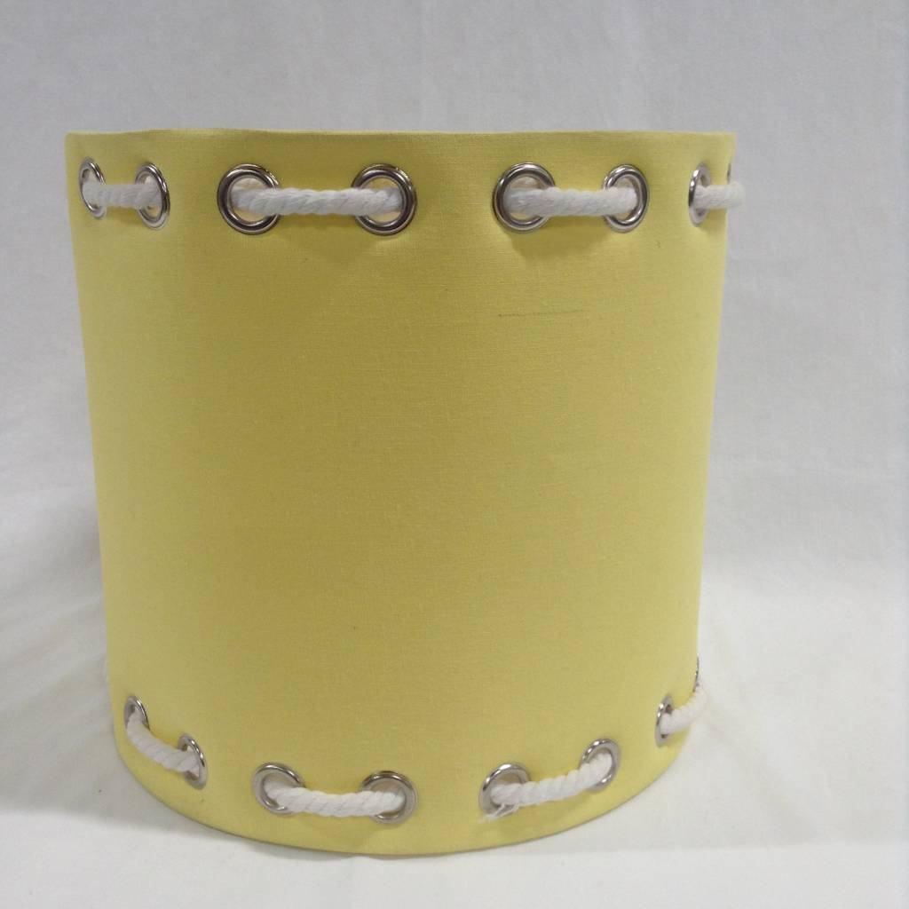 YELLOW AND WHITE ROPE LAMP SHADE