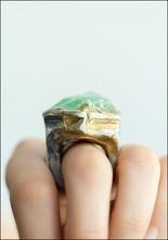 Adina Mills Chunky Green Calcite Ring
