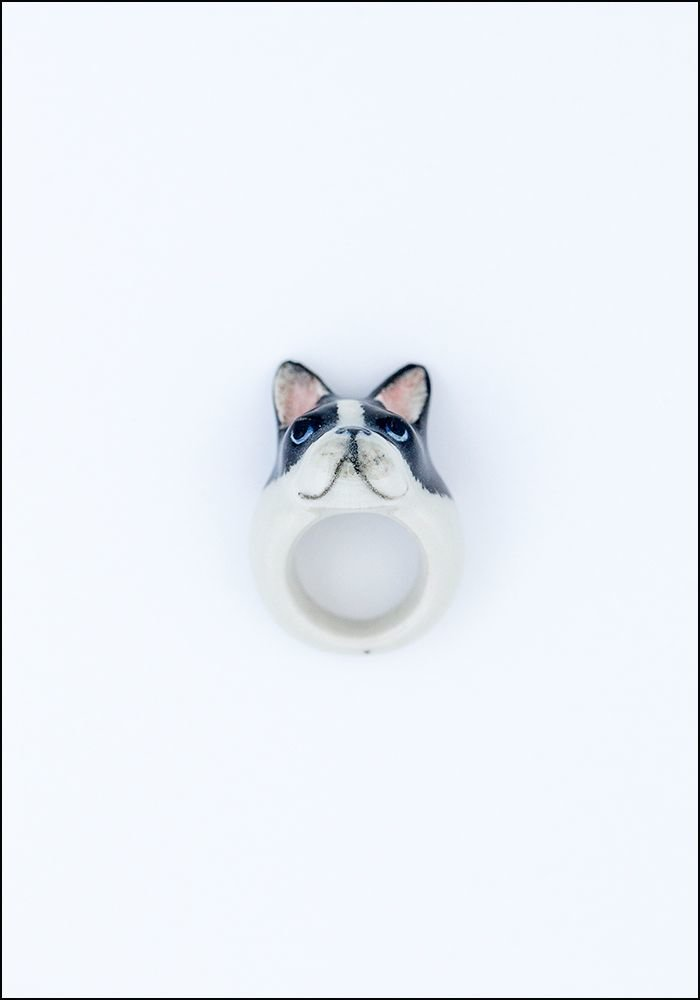 Frenchie Porcelain Ring