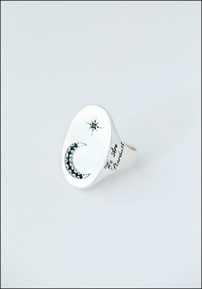 Avocet Star and Moon Signet Ring