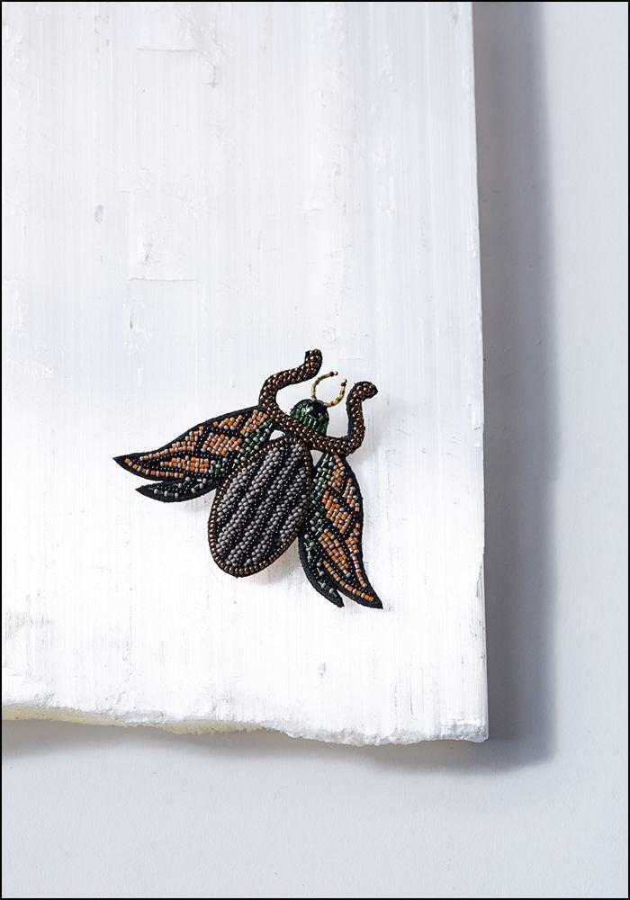 Beaded Bug Pin
