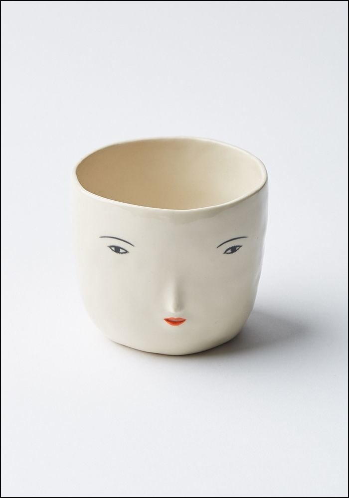 Ceramic Girl Face Pot