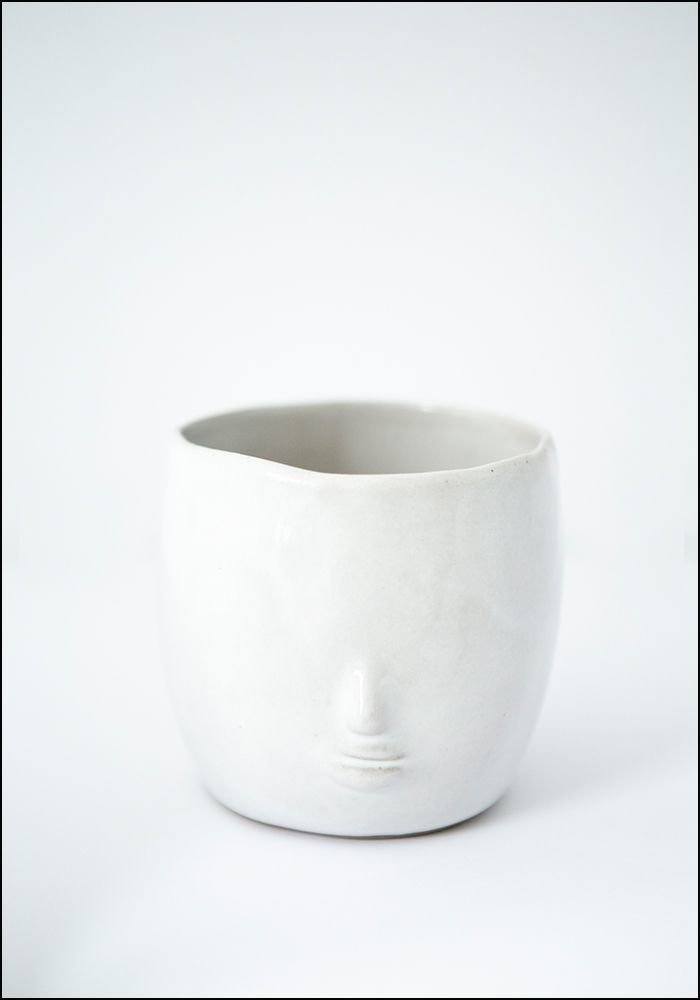 Ceramic White Face Pot