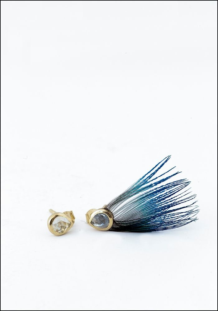 Blue Peacock Feather Earrings With Stone Stud