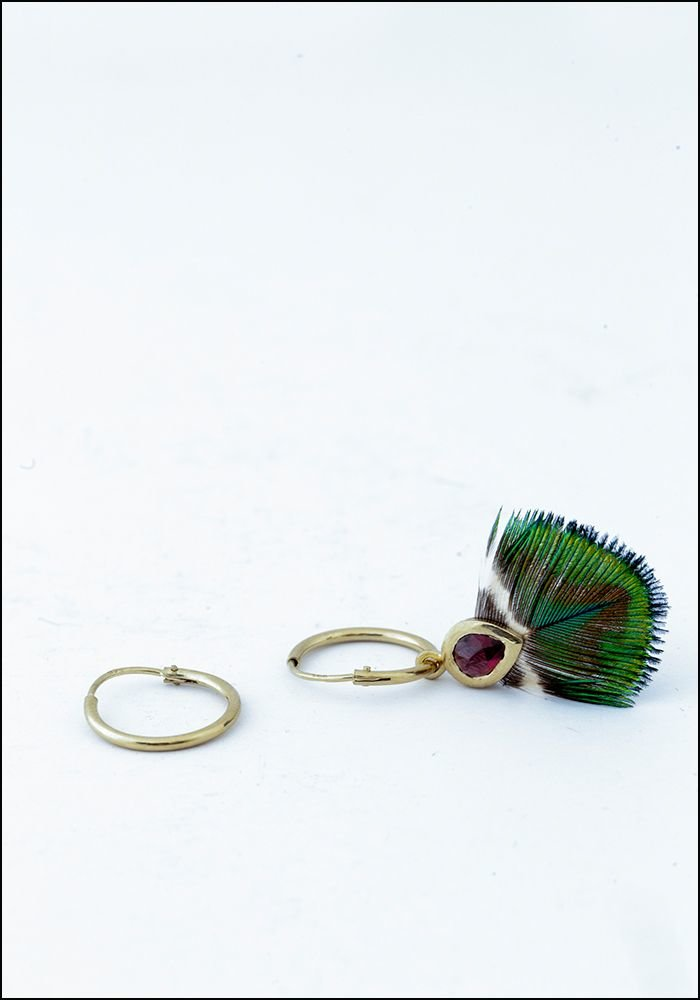 Green Peacock Feather Earring With Hoop