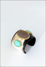 Helene Prime Carved Horn and Stone Cuff