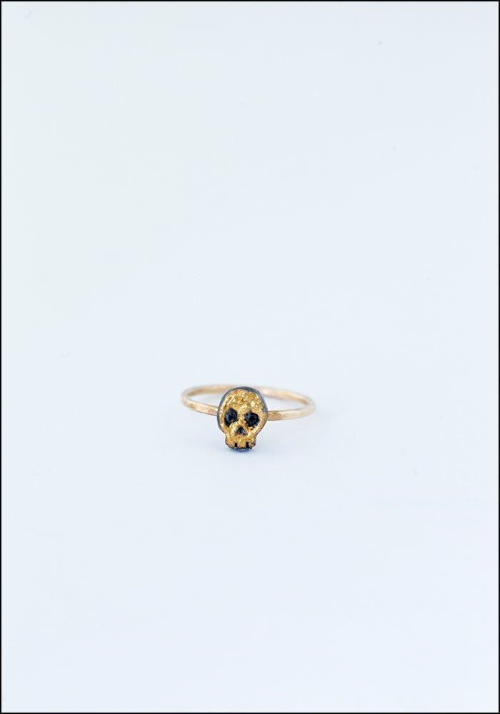 Acanthus Gilded Skull Ring