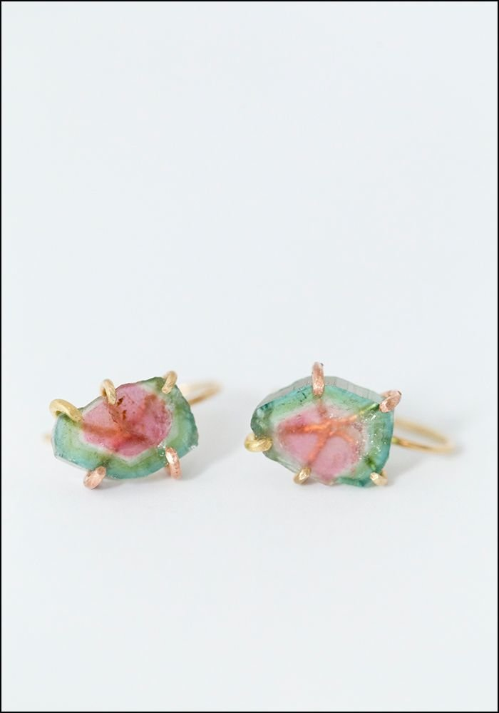 Variance Objects Watermelon Tourmaline Hook Earrings