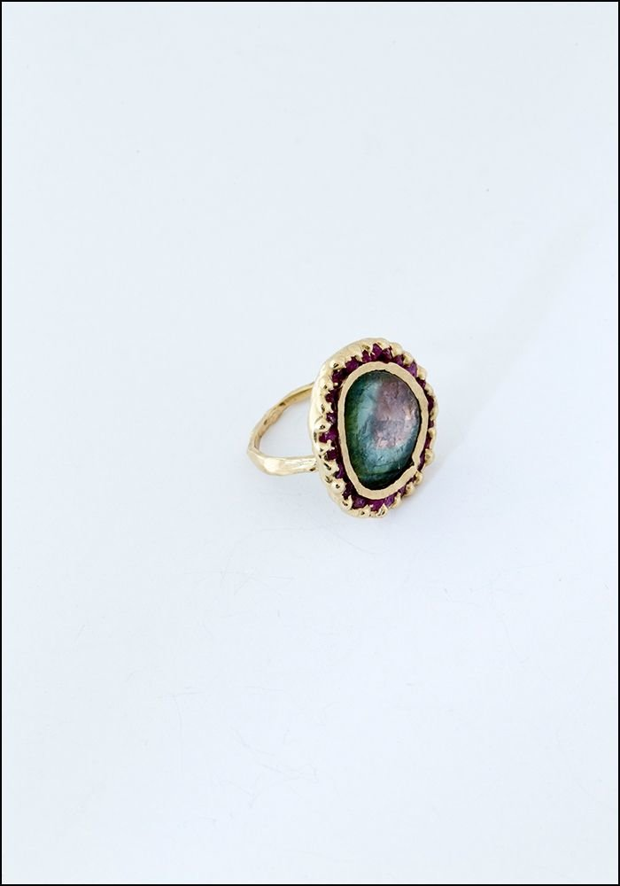 Emilie Shapiro Emilie Shapiro Green Tourmaline and Pink Sapphire Ring